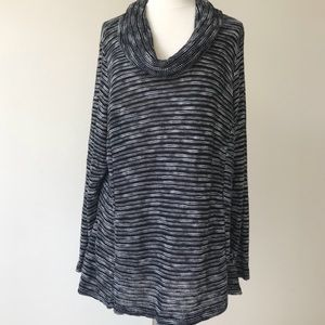 Dress Barn Striped Knit Cowl Neck Sweater